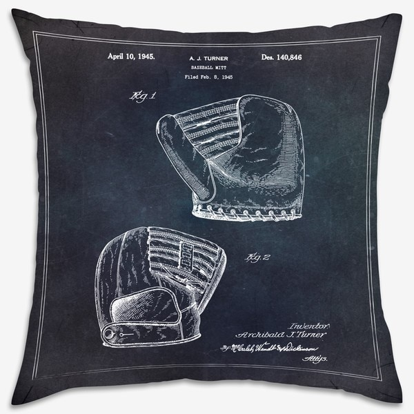 Oliver Gal 'Baseball Mitt 1945' Decorative Throw Pillow