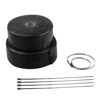 Black Roll Fiberglass Cloth Exhaust Header Pipe Heat Wrap Tape+6 Ties Kit
