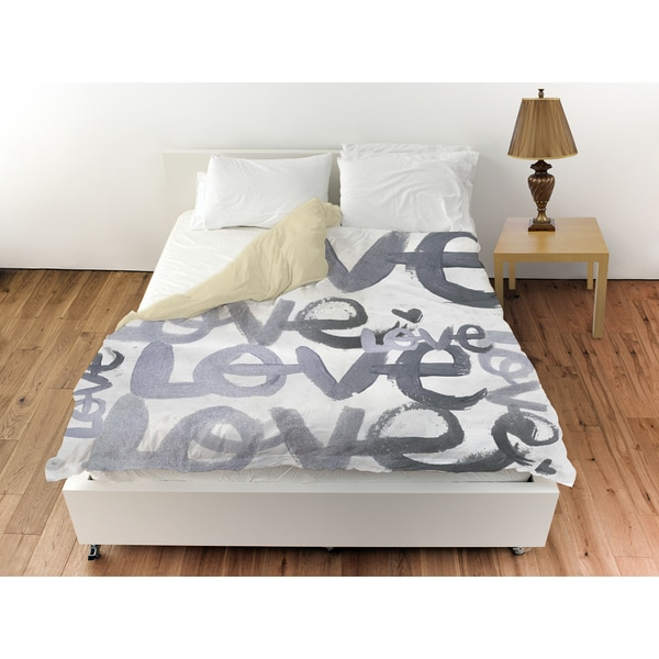 Oliver Gal 'Four Letter Word Silver' Duvet Cover