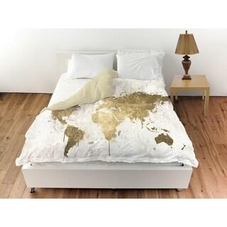 Oliver Gal 'Mapamundi White Gold' Duvet Cover