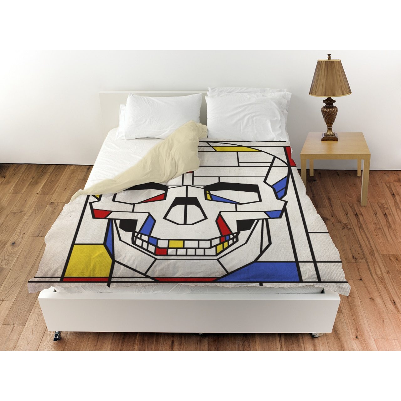 Oliver Gal 'Skull No. 1' Duvet Cover (Twin), Blue (Microf...