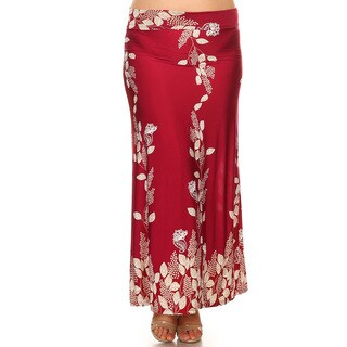 Women's Plus Size Burgundy Botanical Maxi Skirt