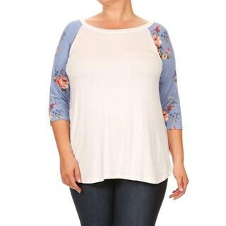 Women's Plus Size Blue Floral Sleeve Tunic