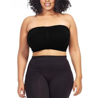 Dinamit Women's Plus Size Seamless Padded Bandeau Tube Top Bra