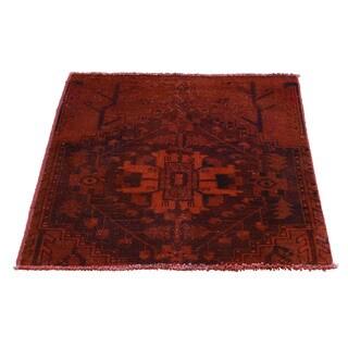 1800GetARug Handmade Overdyed Persian Hamadan Worn Red Wool Rug (2'5 x 2'6)