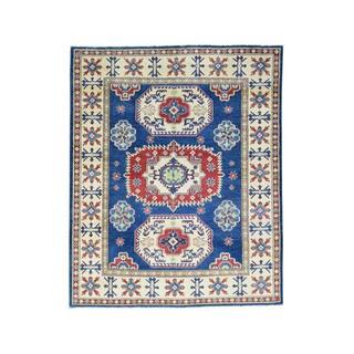 1800GetARug Geometric Oriental Kazak Blue Pure Wool Hand-knotted Rug (5'0 x 6'2)