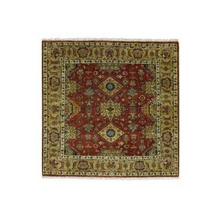 1800GetARug Hand-knotted Karajeh Red 100-percent Wool Oriental Square Carpet (5'0 x 5'0)