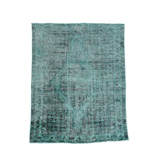 1800GetARug Hand-knotted Persian Overdyed Green/Black Wool Worn Hamadan Oriental Rug (4'6 x 5'5)