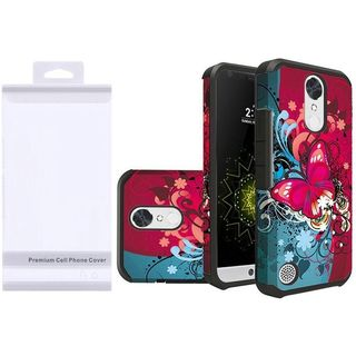 Insten Red/ Blue Butterfly Bliss Hard PC/ Silicone Dual Layer Hybrid Case Cover For LG Grace 4G/ Harmony/ K20 Plus/ K20 V