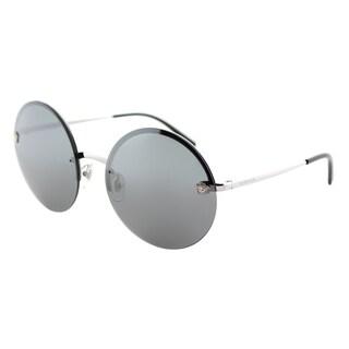 Versace VE 2176 10006G Silver Metal Round Sunglasses Silver Mirror Lens
