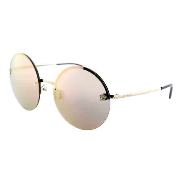 33c2f6a328f8 Versace VE 2176 12524Z Pale Gold Metal Round Sunglasses Rose Gold Mirror  Lens