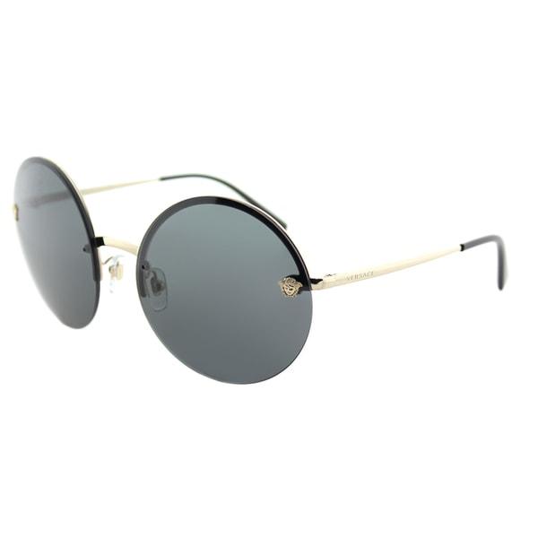 d57eb6c17478 Shop Versace VE 2176 125287 Pale Gold Metal Round Sunglasses Grey ...