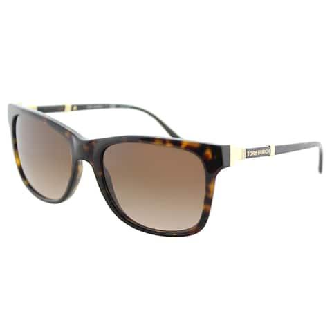 Tory Burch TY 7109 137813 Dark Tortoise Plastic Rectangle Sunglasses Brown Gradient Lens