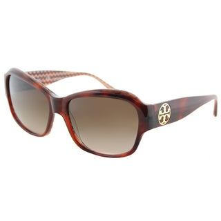 Tory Burch TY 7107 165813 Tortoise on Orange Zig Zag Plastic Rectangle Sunglasses Dark Brown Gradient Lens