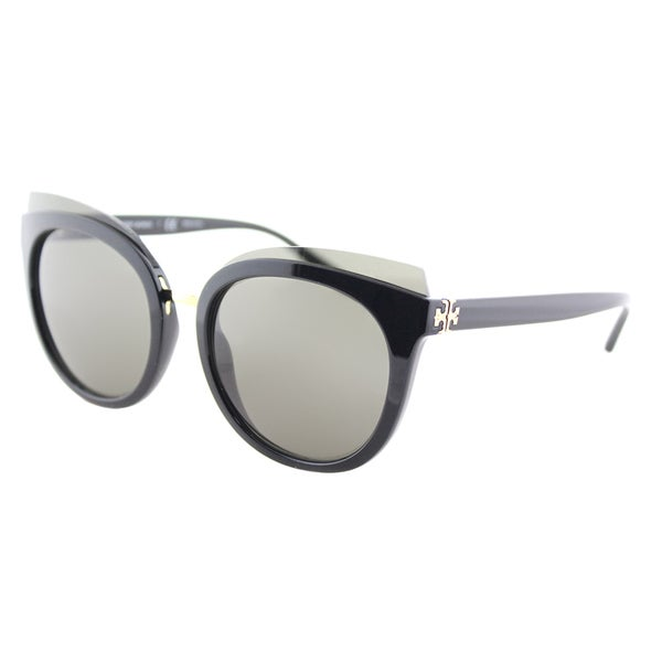 33f2262434 Tory Burch TY 9049 13773 Mixed-Materials Panama Black Plastic Cat-Eye  Sunglasses Smoke