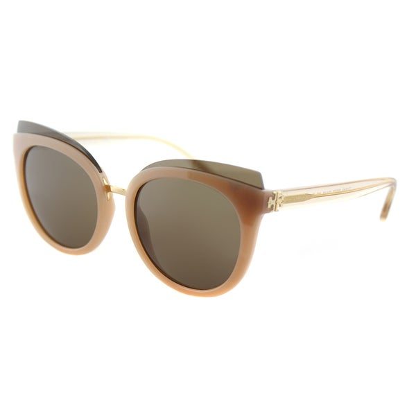 6a9c0af9ba2d Tory Burch TY 9049 166373 Mixed-Materials Panama Blush Plastic Cat-Eye  Sunglasses Brown