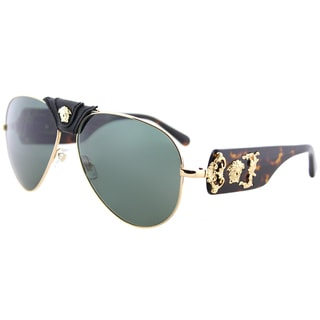Versace VE 2150Q 100271 Gold And Black Metal Aviator Sunglasses Green Lens