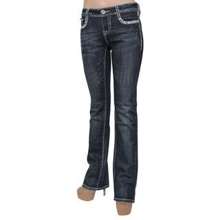 Sexy Couture S003-PB Dark Wash Denim Embroidery Flap Rear Pocket Jeans