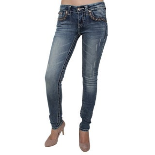 Sexy Couture S006-PS Stitched Accent Floral Embroidery Pocket Rip Skinny Jeans