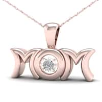 De Couer 1/20ct TDW Diamond Mom Necklace - Pink