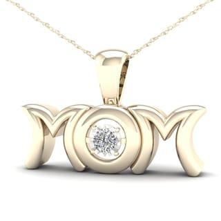 De Couer 1/20ct TDW Diamond Mom Necklace - Yellow