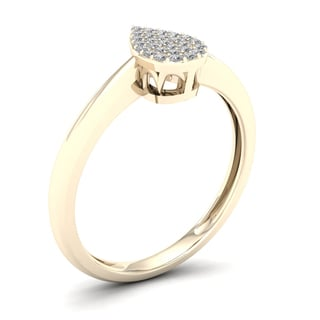 De Couer 1/10ct TDW Diamond Pear Shape Cluster Engagement Ring - Yellow