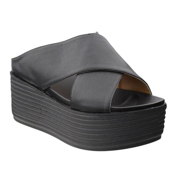 6cc2ce4fb9 Beston DE46 Women's Slip On Criss Cross Strap Platform Slipper Sandals