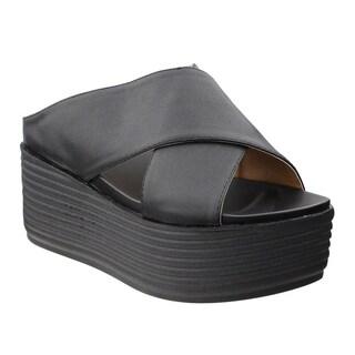 Beston DE46 Women's Slip On Criss Cross Strap Platform Slipper Sandals
