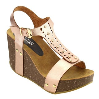 Beston ID98 Women's T-strap Buckle Stud Platform Wedge Sandal