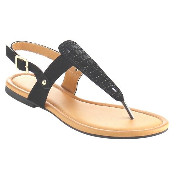 33aedb3b99dd Beston AE77 Women  x27 s Rhinestone T-strap Slingback Thong Flat Sandals  Shoes