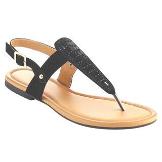 Beston AE77 Women's Rhinestone T-strap Slingback Thong Flat Sandals Shoes