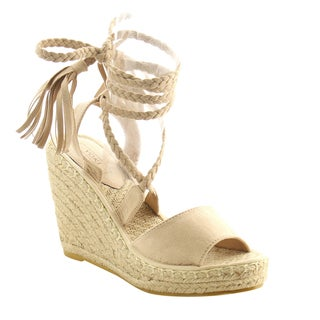 YOKI AG22 Women's Espadrille Braided Ankle Wrap Wedge Sandals