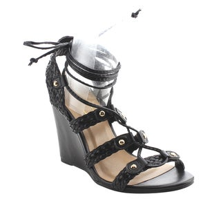 YOKI AG10 Women's Ankle Wrap Lace Up Braided Wedge Sandals