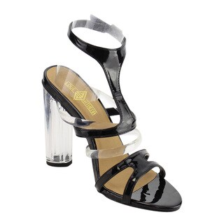 Love Athena EH50 Women's Lucite Clear Strappy T-Strap Chunky Heel Sandals