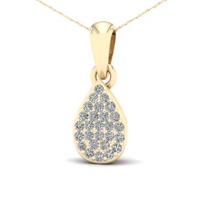 De Couer 1 10ct TDW Diamond Pear Shape Necklace Yellow