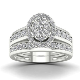 De Couer 1ct TDW Diamond Cluster Engagement Ring Set - White