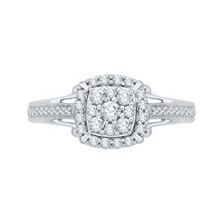 14K White Gold 1/2ct TDW Diamond Composite Engagement Ring (G-H, I2-I3)
