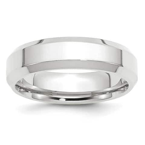 14K White Gold 6mm Polished Bevel Edge Comfort Fit Band by Versil