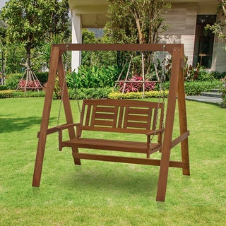 Furinno Tioman Hardwood Hanging Porch Swing with Stand in Teak Oil, FG16409