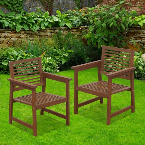 Havenside Home Surfside Teak Hardwood Outdoor Armchair without Cushion (Set of 2)