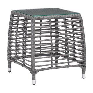 Havenside Home Ugashik Beach Grey/Beige Side Table - N/A