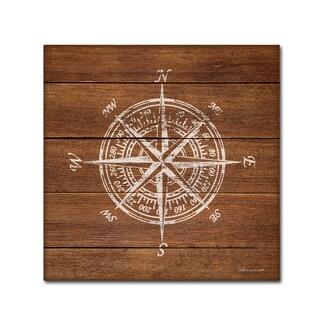 Stephanie Marrott 'Compass On Wood' Canvas Art