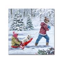 The Macneil Studio 'Children On Sledge' Canvas Art
