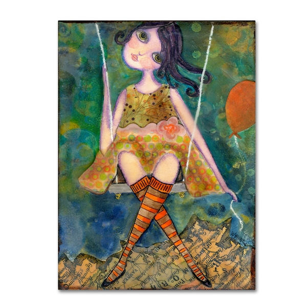 Wyanne 'Big Eyed Girl Swing' Canvas Art