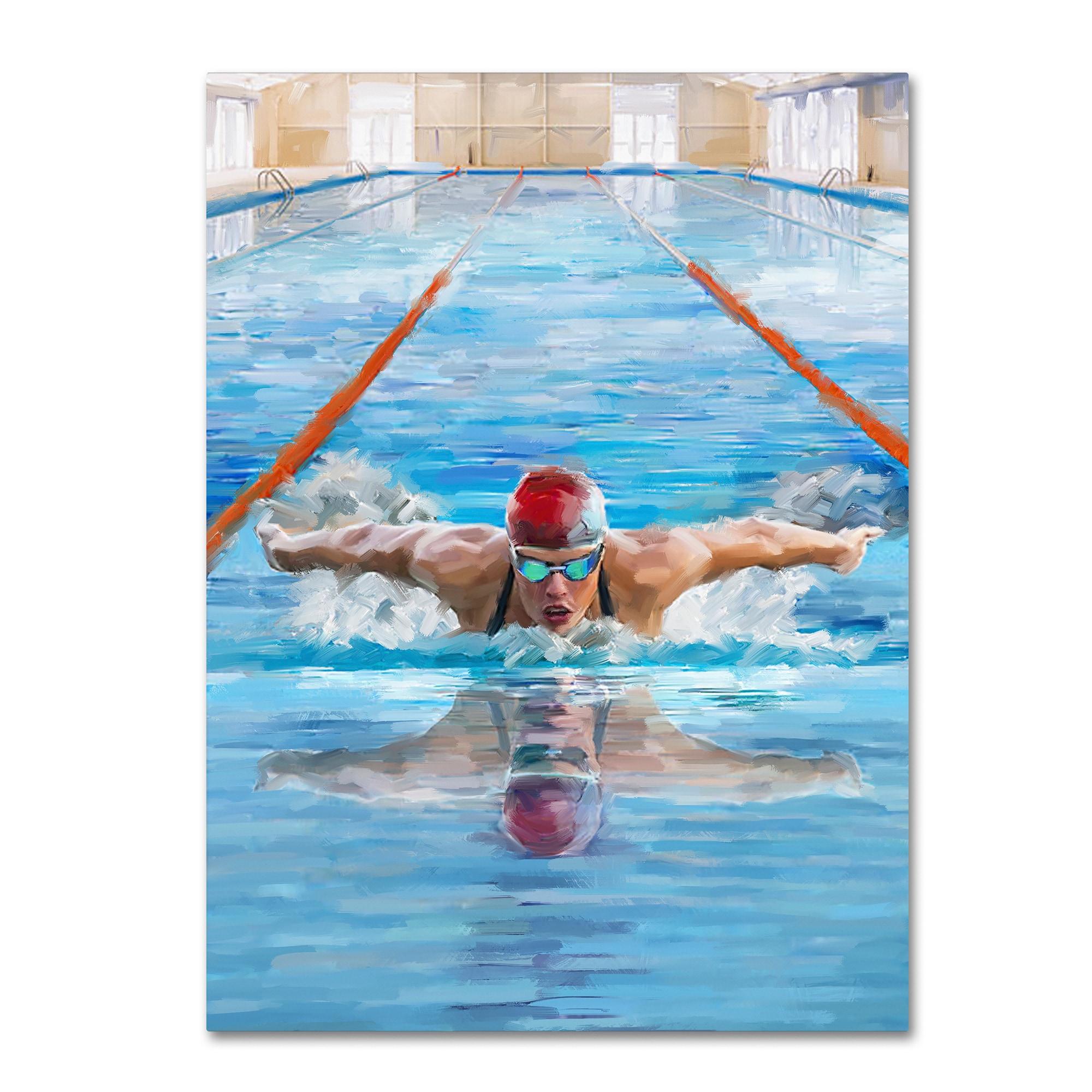 The Macneil Studio 'Swimming' Canvas Art (24x32), Blue pool