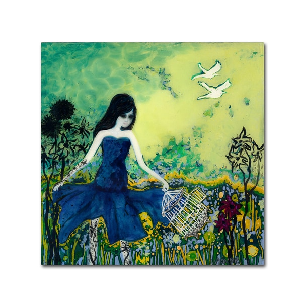 Wyanne 'Big Eyed Girl Letting Go' Canvas Art