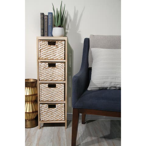 Wood Cabinet with 4 Paper Rope Baskets