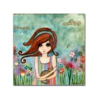 Wyanne 'Big Eyed Girl Bad Kitty' Canvas Art