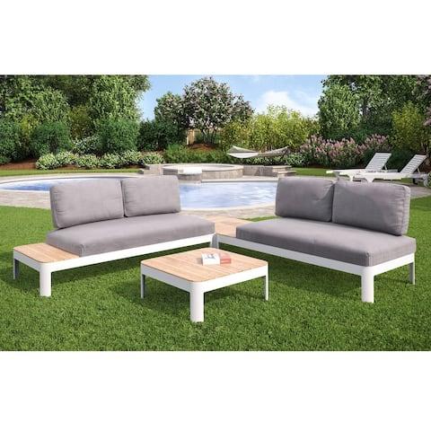 Camelia 4pc Outdoor Aluminum Modular Conversation Set w/ Cushions and 2 Teak Tables