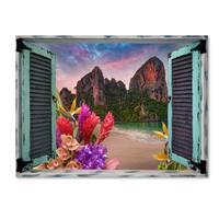 Leo Kelly 'Tropical Window to Paradise VI' Canvas Art